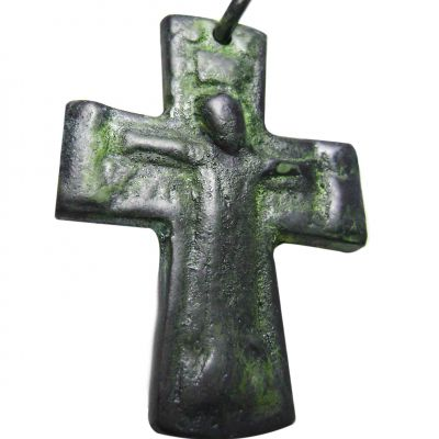 Copper Cross with the Crucified Jesus, Copper with natural oxidation.