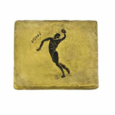 Discus, Olympic Games, Brass coaster with patina of the depiction of the sport.