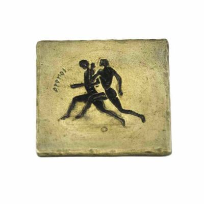 Stadion Race, Olympic Games, Brass coaster with patina, with depiction of the sport.