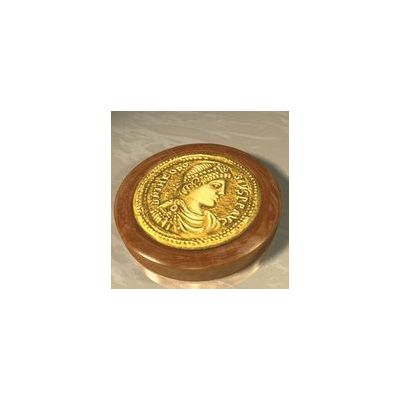 """Theodosius I """"the Great"""", Solid silver 925° with 24-carat overlay (vermeil) on a light brown alabaster base."""