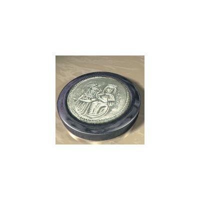 "Constantine VII ""the Purple-born"", Solid silver 925° on a dark blue alabaster base."