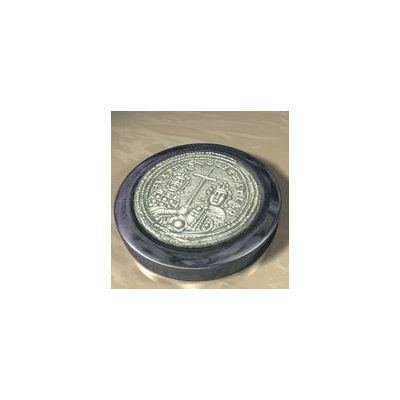 Michael VIII Palaiologos, Solid silver 925° on a dark blue alabaster base.