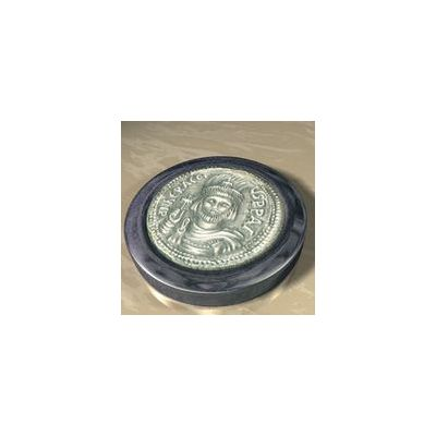 Heraclius, Solid silver 925° on a dark blue alabaster base.