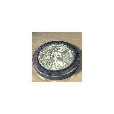 "Constantine V ""the Dung-named"", Solid silver 925° on a dark blue alabaster base."