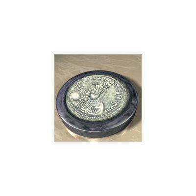 "Leo VI ""the Wise"", Solid silver 925° on a dark blue alabaster base."