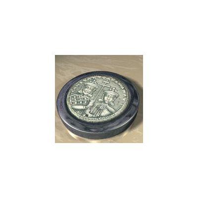 """Basil II """"the Bulgar-Slayer"""", Solid silver 925° on a dark blue alabaster base."""
