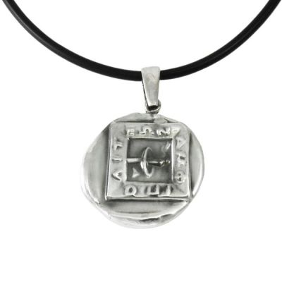 Amphipolis, Pendant in silver 999°, with depiction of a torch inside of an embossed rectangle with the word amfipolis upon it.
