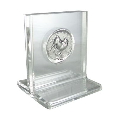 Silver Stater of Gortyn, Silver-plated copy of the coin with acrylic case.