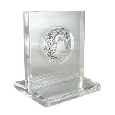 Silver Tetradrachm Coin of Lysimachus, Silver-plated copy in acrylic case