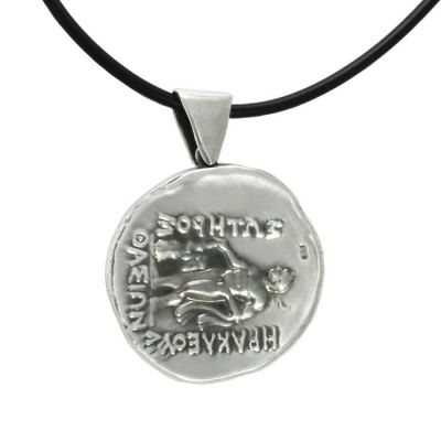 Thassion, Pendant in silver 999° with black satin cord, depicting  Hercules and the inscriptions IRAKLEOUS, SAVIOR and THASSION.