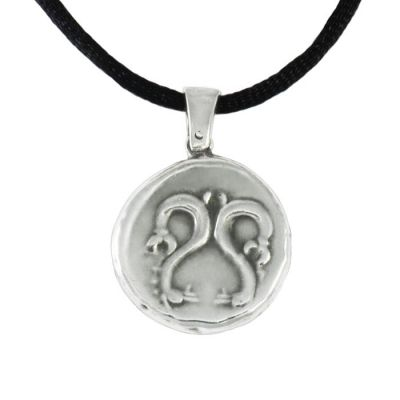 Triton, Pendant in silver 999° and a black satin cord, depicting two seahorses.
