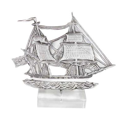 "Brig ""Ares"", Hydra, Miniature ship in silver 999°, mounted on acrylic base."