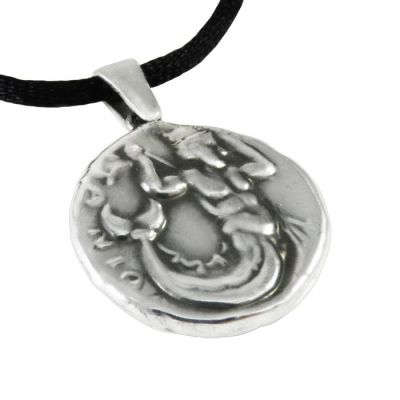 Triton, Pendant in silver 999° and a black satin cord, depicting Triton.