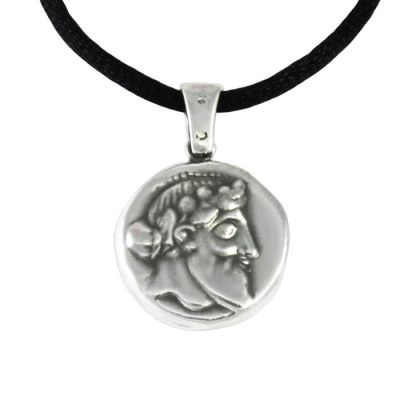 Dionysos, Two sided Pendant with depiction of god Dionysus, in silver 999°.