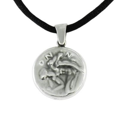 Dionysos, Two sided Pendant with depiction of a Silenus, in silver 999°.