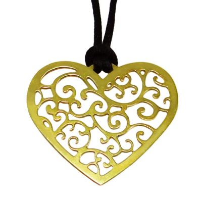 """Heart """"Love"""", Pendant, Gold-plated 24K Silver, hanging on a black cord."""