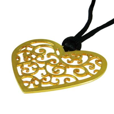 """Heart """"Love"""", Pendant, Gold-plated 24K Silver attached on black cord."""