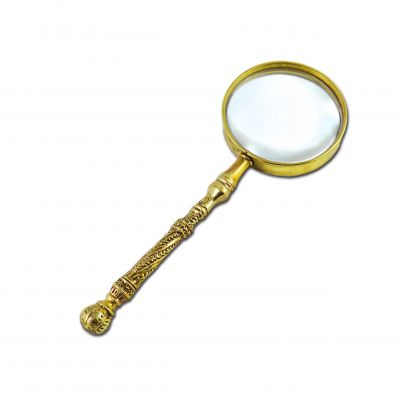 """Charbi"", Magnifying Lense with with decoration from a charbi knife, made of brass."