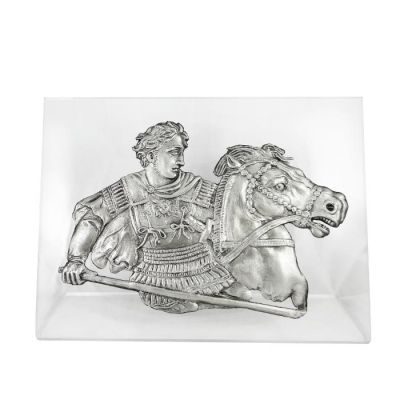 Alexander the Great at the Battle at Issus, Silver-plated 999° Copper, mounted on an acrylic back (plexiglass).
