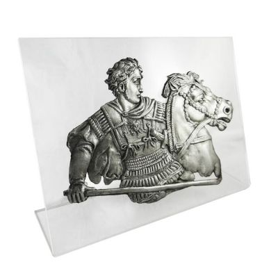 Alexander the Great at the Battle at Issos, Silver-plated 999° Bronze, mounted on an acrylic back (plexiglass).