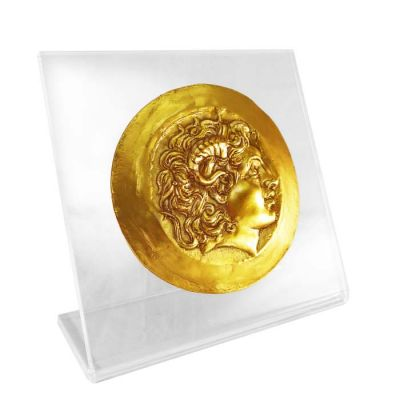 Alexander the Great, Gold Medal of Tarsus, Gold-plated 24K Bronze Copy, mounted on an acrylic back (plexiglass).