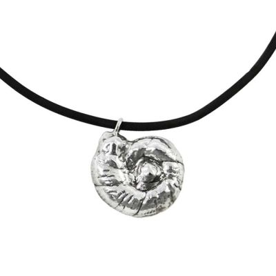 Ammonite, Pendant in the shape of an ammonite, made of silver 999°.