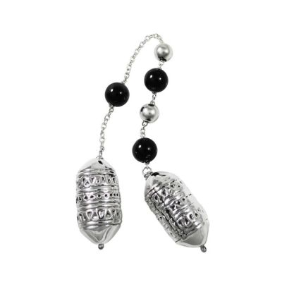 Begleri, with black agate stones and decorative beads with design from a jewel of a greek traditional costume, made of silver 999°.