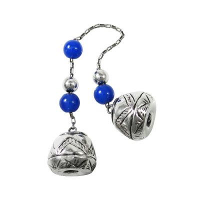 Begleri, with lapis lazuli gemstones and decorative spindle whorls, made of silver 999°.