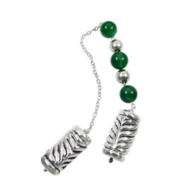 Begleri with tourmaline stones and engraved cylinder edges, in silver 999°.