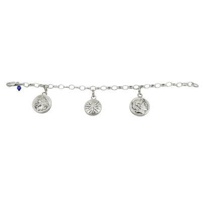 Alexander the Great, Bracelet in silver 999°, with three different charms, depicting Alexander the Great, goddess Athena and the Vergina Sun (star).