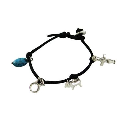 Bracelet with three Ancient Cypriot Figurines, Silver 925° and turquoise stone, braided on a black satin cord.