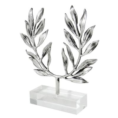 Olive Wreath, Silver-plated 999° Brass, mounted on an acrylic base (plexiglass).