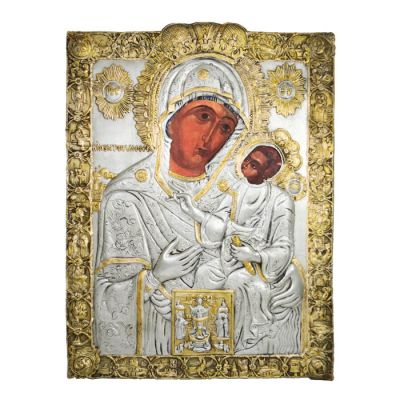 The Virgin of Ekatontapyliani of Paros, Silver 999° Icon with partial 24K gold plating.