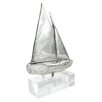 Sailing Yacht, Silver 999°, mounted on acrylic base.