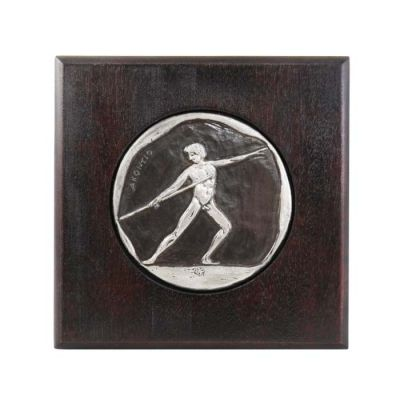 Javelin Throw, Olympic Games, Copper plaque with patina, plated in silver solution 999° and mounted on a wooden frame.