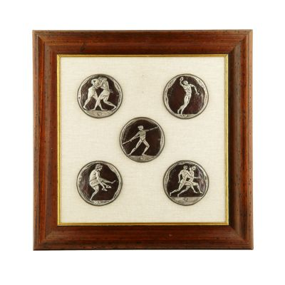 The Pentathlon, Olympic Games, Silver-plated copper with patina, on linen paspartou with wooden aged frame.