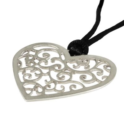 "Heart ""Love"", Pendant, Silver 925°, hanging on a black cord."