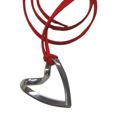 Twisted Heart, Pendant, Silver 925°, hanging on a red suede cord.