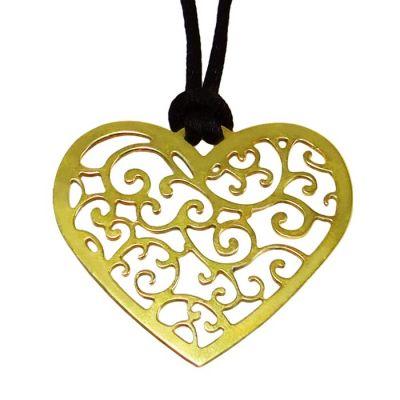 """Καρδιά """"Love"""", Παντατίφ, Ορείχαλκος Επίχρυσος 24Κ"""