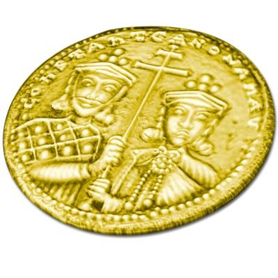 Constantinato lucky coin, handmade gold-plated solid silver.
