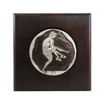 Long Jump, Olympic Games, Silver-plated Copper on Wood