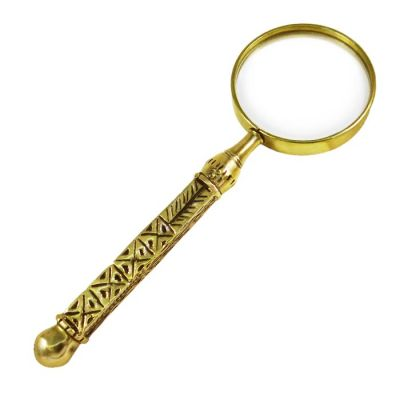 Distaff, Magnifying Lense in brass with copy of a distaff as a handle.