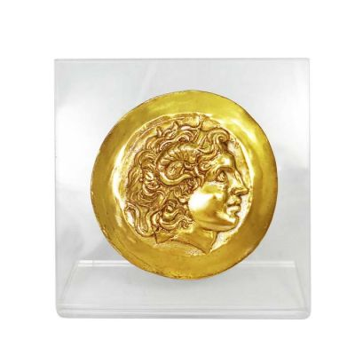Alexander the Great, Gold Medal of Tarsus, Gold-plated 24K Copper Copy, mounted on an acrylic back (plexiglass).