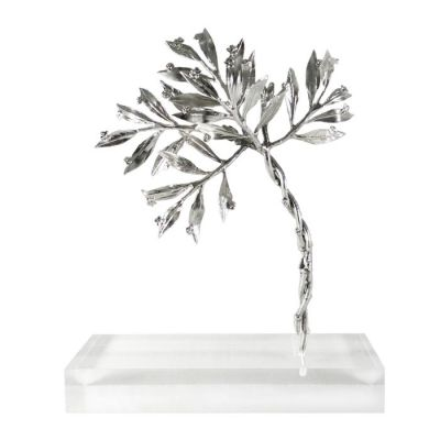 Myrtle Tree, Silver-plated, Sculpture in brass, plated in silver solution 999°, mounted on acrylic base (plexiglass).