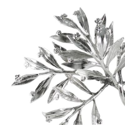 Myrtle Tree, Silver-plated, Detail of the twigs and the flowers of the sculpture in brass, plated in silver solution 999°.