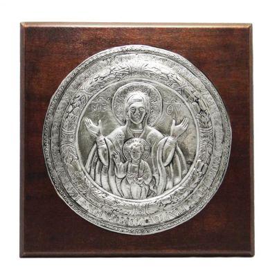 Η Παναγία με τον Χριστό, Πάρος, Επάργυρη εικόνα σε ξύλινη πλάτη.