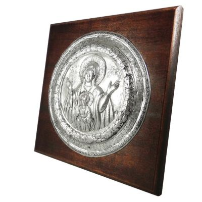 Virgin Mary & Christ Icon from Paros, Sivler-plated Copper on wooden back.