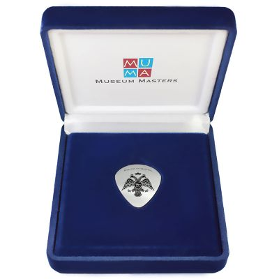 Double-headed Eagle, Handmade Guitar pick, Solid Silver 925°, in a velvet case.