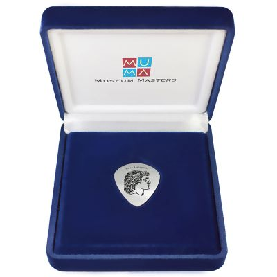Alexander the Great, Handmade Guitar Pick, Solid Silver 925° in a velvet case.