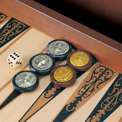 The Backgammon of the Byzantine Emperors, Draughts with alabaster base and coins, made of silver 925° and vermeil.